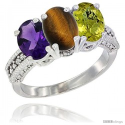 14K White Gold Natural Amethyst, Tiger Eye & Lemon Quartz Ring 3-Stone 7x5 mm Oval Diamond Accent