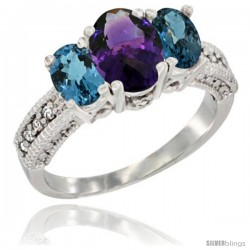 14k White Gold Ladies Oval Natural Amethyst 3-Stone Ring with London Blue Topaz Sides Diamond Accent