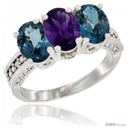 14K White Gold Natural Amethyst & London Blue Topaz Sides Ring 3-Stone 7x5 mm Oval Diamond Accent
