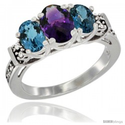 14K White Gold Natural Amethyst & London Blue Topaz Ring 3-Stone Oval with Diamond Accent
