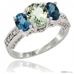 14k White Gold Ladies Oval Natural Green Amethyst 3-Stone Ring with London Blue Topaz Sides Diamond Accent