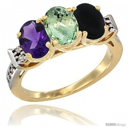 10K Yellow Gold Natural Amethyst, Green Amethyst & Black Onyx Ring 3-Stone Oval 7x5 mm Diamond Accent