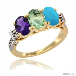 10K Yellow Gold Natural Amethyst, Green Amethyst & Turquoise Ring 3-Stone Oval 7x5 mm Diamond Accent