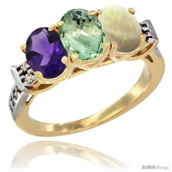 10K Yellow Gold Natural Amethyst, Green Amethyst & Opal Ring 3-Stone Oval 7x5 mm Diamond Accent