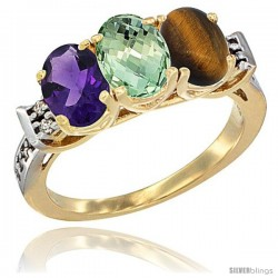 10K Yellow Gold Natural Amethyst, Green Amethyst & Tiger Eye Ring 3-Stone Oval 7x5 mm Diamond Accent
