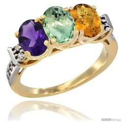 10K Yellow Gold Natural Amethyst, Green Amethyst & Whisky Quartz Ring 3-Stone Oval 7x5 mm Diamond Accent