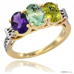 10K Yellow Gold Natural Amethyst, Green Amethyst & Lemon Quartz Ring 3-Stone Oval 7x5 mm Diamond Accent