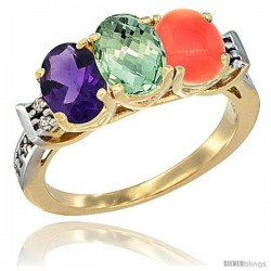 10K Yellow Gold Natural Amethyst, Green Amethyst & Coral Ring 3-Stone Oval 7x5 mm Diamond Accent