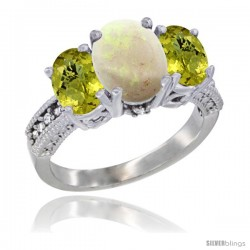 10K White Gold Ladies Natural Opal Oval 3 Stone Ring with Lemon Quartz Sides Diamond Accent