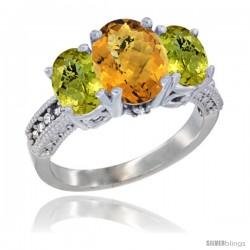 10K White Gold Ladies Natural Whisky Quartz Oval 3 Stone Ring with Lemon Quartz Sides Diamond Accent