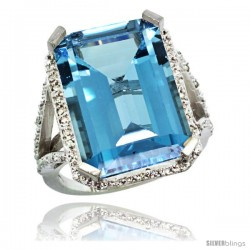 Sterling Silver Diamond Natural London Blue Topaz Ring 14.96 ct Emerald Shape 18x13 Stone 13/16 in wide