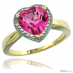 14k Yellow Gold Ladies Natural Pink Topaz Ring Heart-shape 8x8 Stone Diamond Accent