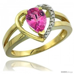 14k Yellow Gold Ladies Natural Pink Topaz Ring Heart-shape 5 mm Stone Diamond Accent