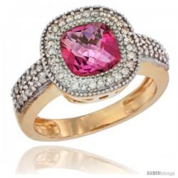 14k Yellow Gold Ladies Natural Pink Topaz Ring Cushion-cut 3.5 ct. 7x7 Stone Diamond Accent