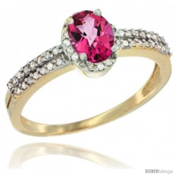 14k Yellow Gold Ladies Natural Pink Topaz Ring oval 6x4 Stone Diamond Accent -Style Cy406178