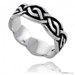 Sterling Silver Celtic Knot Wedding Band / Thumb Ring, 1/4 in wide -Style Tr497