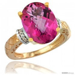 14k Yellow Gold Diamond Pink Topaz Ring 5.5 ct Oval 14x10 Stone