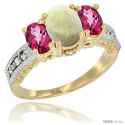 14k Yellow Gold Ladies Oval Natural Opal 3-Stone Ring with Pink Topaz Sides Diamond Accent