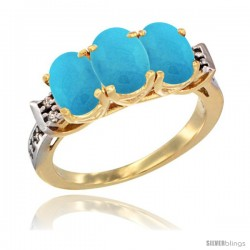 10K Yellow Gold Natural Turquoise Ring 3-Stone Oval 7x5 mm Diamond Accent