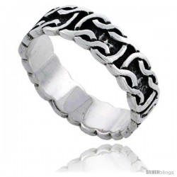 Sterling Silver Celtic Knot Wedding Band / Thumb Ring, 1/4 in wide -Style Tr496