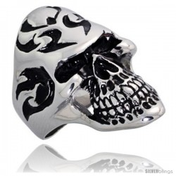 Surgical Steel Biker Skull Ring Tribal Tattoos 1 3/8 in wide
