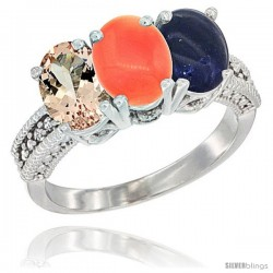 14K White Gold Natural Morganite, Coral & Lapis Ring 3-Stone Oval 7x5 mm Diamond Accent