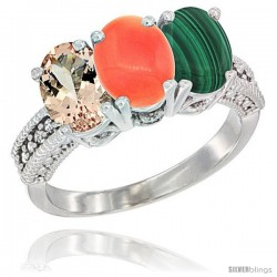 14K White Gold Natural Morganite, Coral & Malachite Ring 3-Stone Oval 7x5 mm Diamond Accent