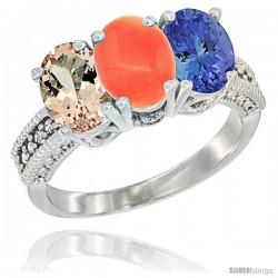 14K White Gold Natural Morganite, Coral & Tanzanite Ring 3-Stone Oval 7x5 mm Diamond Accent