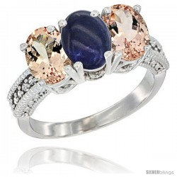 14K White Gold Natural Lapis & Morganite Sides Ring 3-Stone Oval 7x5 mm Diamond Accent