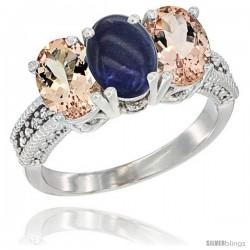 14K White Gold Natural Lapis & Morganite Sides Ring 3-Stone Oval 7x5 mm Diamond Accent
