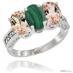 14K White Gold Natural Malachite & Morganite Sides Ring 3-Stone Oval 7x5 mm Diamond Accent