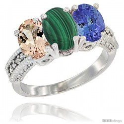 14K White Gold Natural Morganite, Malachite & Tanzanite Ring 3-Stone Oval 7x5 mm Diamond Accent