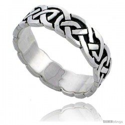 Sterling Silver Celtic Knot Wedding Band / Thumb Ring, 1/4 in wide -Style Tr493