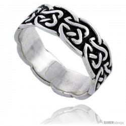 Sterling Silver Celtic Knot Wedding Band / Thumb Ring, 1/4 in wide -Style Tr494