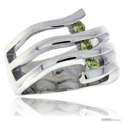 Highest Quality Sterling Silver 5/8 in (16 mm) wide Ladies' Right Hand Ring, Brilliant Cut Peridot-colored CZ Stones