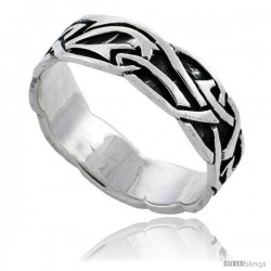 Sterling Silver Celtic Knot Wedding Band / Thumb Ring, 1/4 in wide -Style Tr495