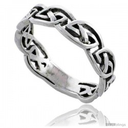 Sterling Silver Celtic Knot Wedding Band / Thumb Ring 3/16 in wide -Style Tr501
