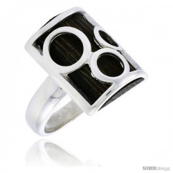 "Sterling Silver Bubble Design Rectangular Ring, w/ Ancient Wood Inlay, w/ Triple Circle Cut Outs, 7/8"" (22 mm) wide"