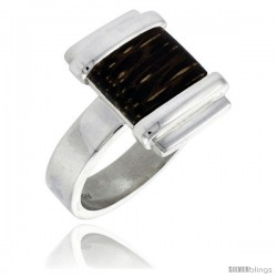 """Sterling Silver Square-shaped Ring, w/ Ancient Wood Inlay, 5/8"""" (16 mm) wide"""