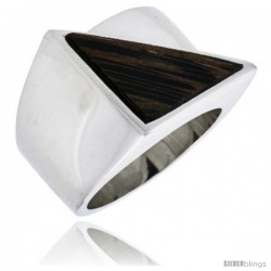 "Sterling Silver Triangular Ring, w/ Ancient Wood Inlay, 11/16"" (17 mm) wide"