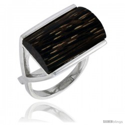 Sterling Silver Rectangular Ring 16mm Wide Size 7 5//8 w//Ancient Wood Inlay