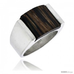 "Sterling Silver Square-shaped Ring, w/ Ancient Wood Inlay, 5/8"" (16 mm) wide -Style Trw26"