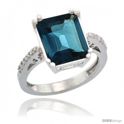 Sterling Silver Diamond Natural London Blue Topaz Ring 5.83 ct Emerald Shape 12x10 Stone 1/2 in wide