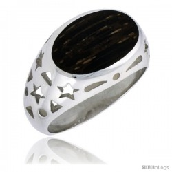 "Sterling Silver Oval-shaped Ring, w/ Ancient Wood Inlay & Teeny Star Cut Outs, 9/16"" (14 mm) wide"