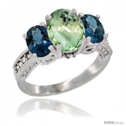 14K White Gold Ladies 3-Stone Oval Natural Green Amethyst Ring with London Blue Topaz Sides Diamond Accent