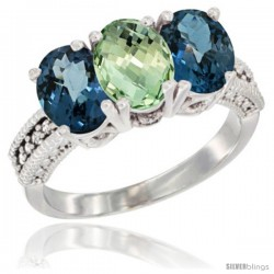 14K White Gold Natural Green Amethyst & London Blue Topaz Sides Ring 3-Stone 7x5 mm Oval Diamond Accent
