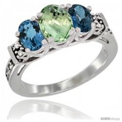 14K White Gold Natural Green Amethyst & London Blue Ring 3-Stone Oval with Diamond Accent