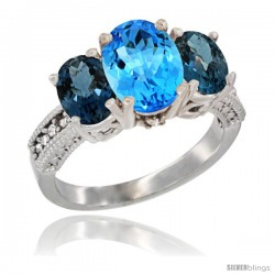 14K White Gold Ladies 3-Stone Oval Natural Swiss Blue Topaz Ring with London Blue Topaz Sides Diamond Accent