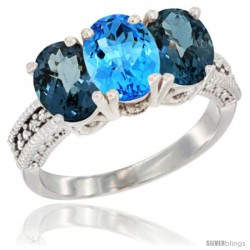 14K White Gold Natural Swiss Blue Topaz & London Blue Topaz Sides Ring 3-Stone 7x5 mm Oval Diamond Accent