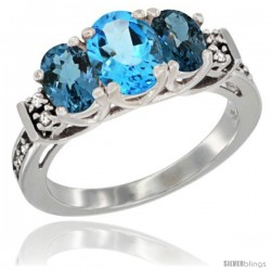 14K White Gold Natural Swiss Blue Topaz & London Blue Ring 3-Stone Oval with Diamond Accent